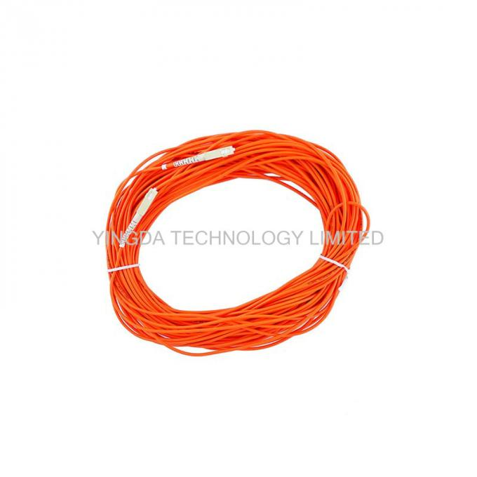 LSZH Fiber Optic Patch Cord SC - SC With Simplex Beige Housing Orange / Corning Fiber Cable